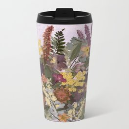 Pressed Flower English Garden Metal Travel Mug