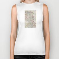 geology Biker Tanks featuring Beautiful Map of the Lower Mississippi River by Elegant Chaos Gallery