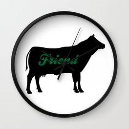 Cow Friend (green) Wall Clock