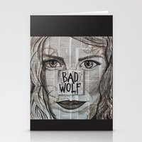 bad wolf Stationery Cards featuring Bad Wolf  by Chrissie Brown Art