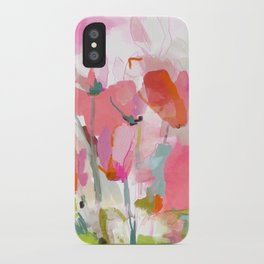 Floral abstract pink art iPhone Case