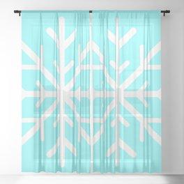 Snowflake (White & Aqua) Sheer Curtain