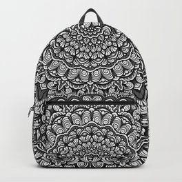 Gray colors mandala Sophisticated black and white ornament Backpack