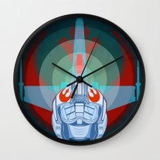 Red leader standing by Wall Clock