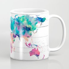World Map Watercolor Paint on White Wood Mug