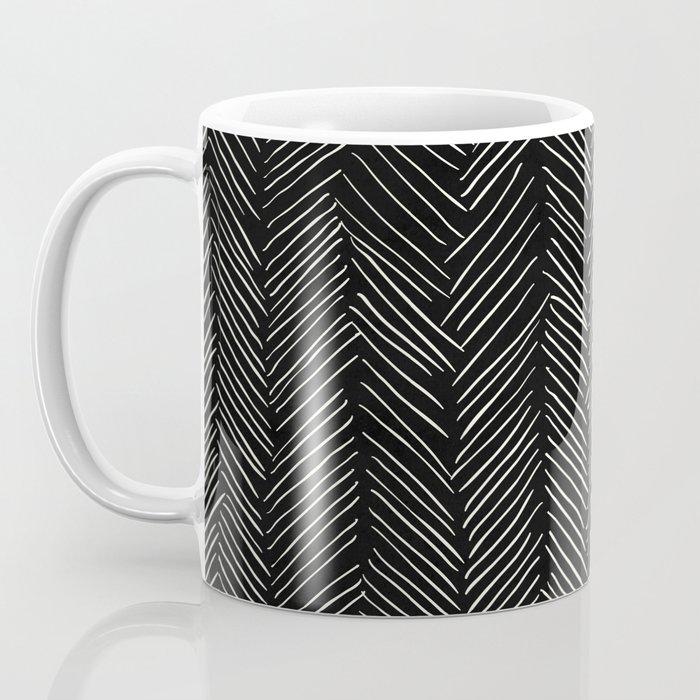 Herringbone Cream on Black Coffee Mug