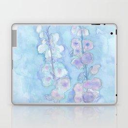Pale Blue Hollyhock Foxglove Minimalist Watercolor Laptop & iPad Skin
