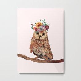 Owl with Flowers Metal Print