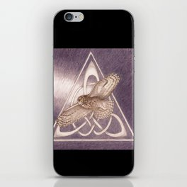 Great Horned Owl Over Celtic Triskeles iPhone Skin