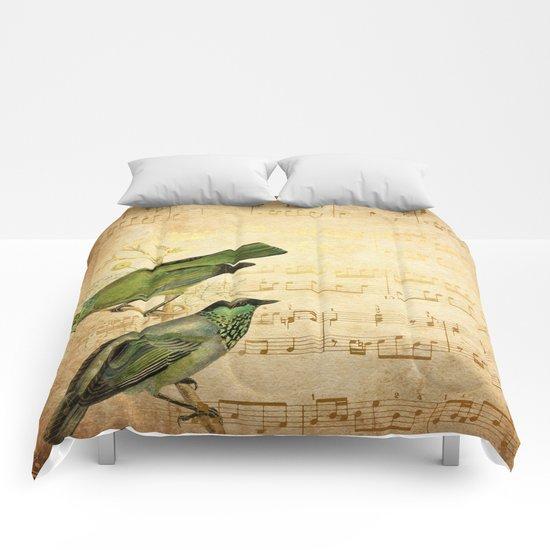 Vintage gold Music #6 Comforters