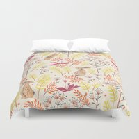 rabbits Duvet Covers featuring rabbits field by Dao Linh