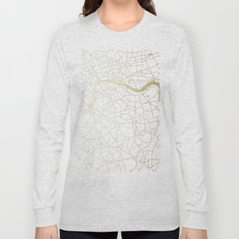 London White on Gold Street Map Long Sleeve T-shirt
