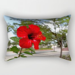 Red Flower Bloom Rectangular Pillow