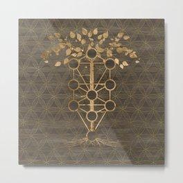 Kabbalah The Tree of Life Vintage Gold on Wood Metal Print