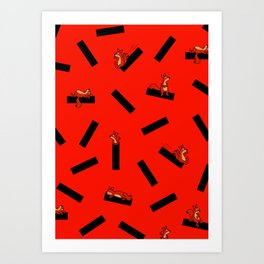 timber squirel - red - 80s abstrakt memphis milano Art Print