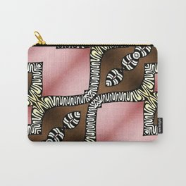 Pink and Brown Carry-All Pouch