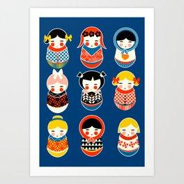 Babushka dolls vibrant pattern Art Print