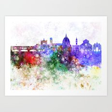 Florence skyline in watercolor background Art Print
