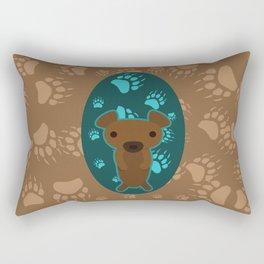 Bear with Paw Prints Rectangular Pillow