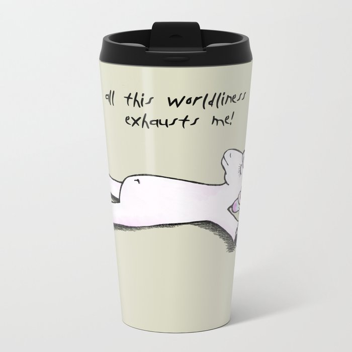 Exhausted Unicorn Metal Travel Mug
