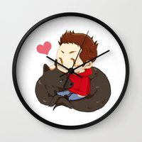 sterek Wall Clocks featuring STEREK/#3 by Yoshimoto