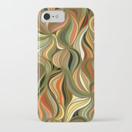 Boho Green & Red Wave Pattern iPhone Case