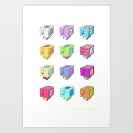 Cubeheds ( available for t-shirts ) Art Print