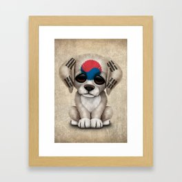 Cute Puppy Dog with flag of South Korea Framed Art Print