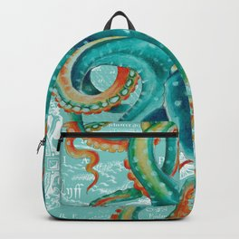 Teal Octopus On Light Teal Vintage Map Backpack