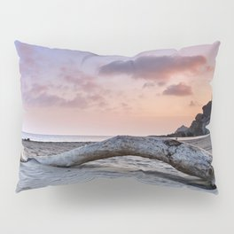 Half Moon Beach. Red sky Pillow Sham