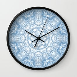 Blue and White Mandala Wall Clock