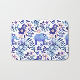 Pale Coral, White and Purple Elephant and Floral Watercolor Pattern Bath Mat