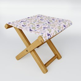 Ditsy Bunnies Amok - Purple Bunnies, Pink Background Folding Stool