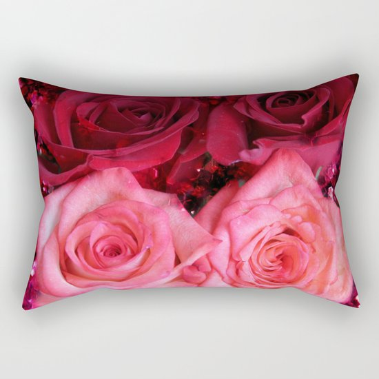 Glitter and Roses - Red and Pink Rectangular Pillow