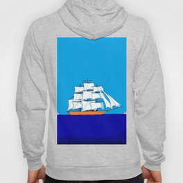 A Clipper Ship at Sunset, Pink clouds and Sun, Nautical Scene Hoody
