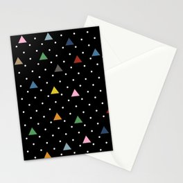 Pin Point Triangles Black Stationery Cards
