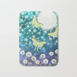 the moon, stars, luna moths, & dandelions Bath Mat