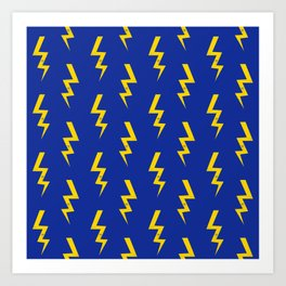 Lightning bolt fun pattern decor blue and gold boys room nursery superhero Art Print