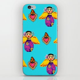 Angels and Hearts Turquoise iPhone Skin