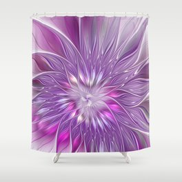 Pink Flower Passion, Abstract Fractal Art Shower Curtain