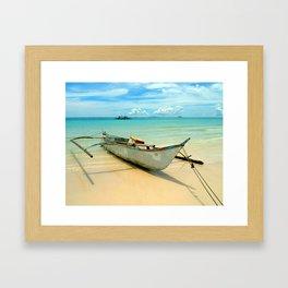 Beached Boracay Boat Framed Art Print