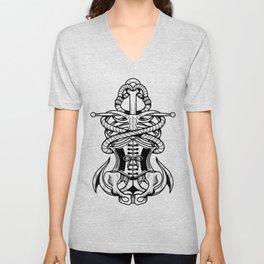 Sigil of the Lady Pirate (White Design) Unisex V-Neck