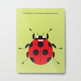Lady Bug Yellow Metal Print