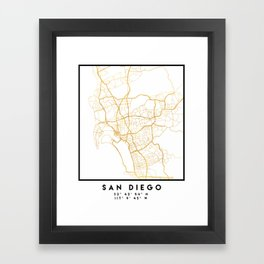 SAN DIEGO CALIFORNIA CITY STREET MAP ART Framed Art Print