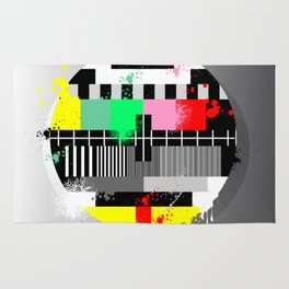 Retro grunge color tv test screen Rug