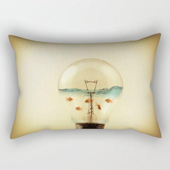 gold fish globe Rectangular Pillow