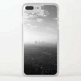 Los Angeles. L.A. Skyline. Black and White. Jodilynpaintings. Sunrise. Sunset. Cityscape. California Clear iPhone Case