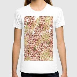 Vintage boho mauve pink dusty green floral T-shirt