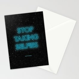 JCrafthouse Stop Taking Selfies Typography Print Stationery Cards