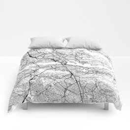 Stockholm White Map Comforters